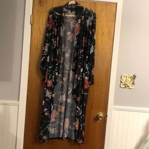 Black Floral Long Sleeve Cardigan Size 3X
